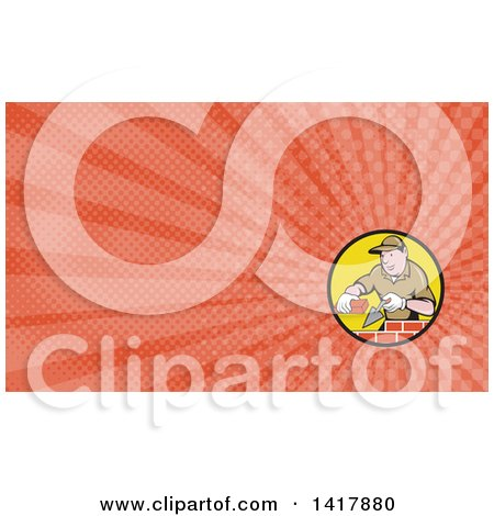 Clipart of a Retro Cartoon Male Mason Worker Laying Bricks and Orange Rays Background or Business Card Design - Royalty Free Illustration by patrimonio