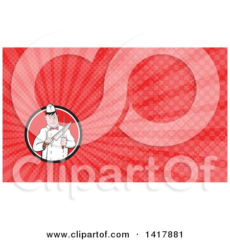 Clipart of a Retro Cartoon Male Butcher Sharpening a Knife and Red Rays Background or Business Card Design - Royalty Free Illustration by patrimonio