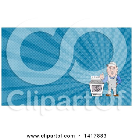 Cartoon Male Oven Cleaner Technician Standing by a Range and Giving a Thumb up and Blue Rays Background or Business Card Design Posters, Art Prints