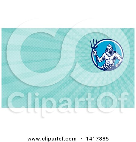 Retro Woodcut Roman Sea God, Neptune or Poseidon, with a Trident and Blue Rays Background or Business Card Design Posters, Art Prints