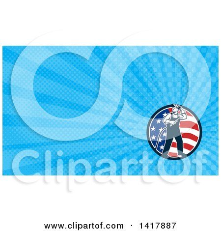 Clipart of a Retro Male Welder Looking Back over His Shoulder in an American Circle and Blue Rays Background or Business Card Design - Royalty Free Illustration by patrimonio