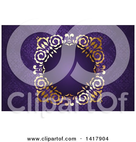Purple Damask and Gold Business Card or Website Background Design Posters, Art Prints
