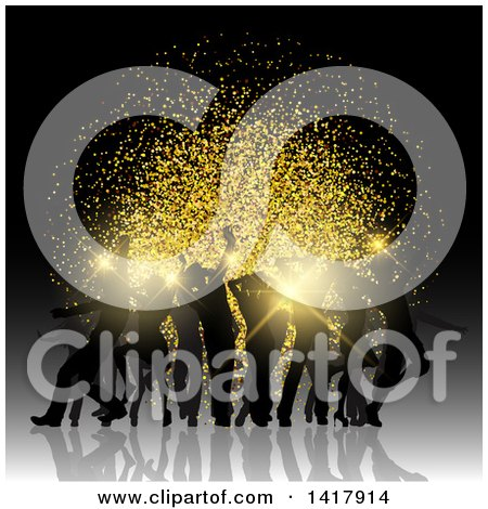 Clipart of a Background of Silhouetted Party People Dancing and a Gold Glitter Burst - Royalty Free Vector Illustration by KJ Pargeter