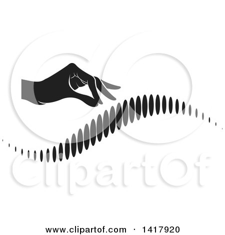Clipart of a Black and White Hand over a Human Spine - Royalty Free Vector Illustration by Lal Perera