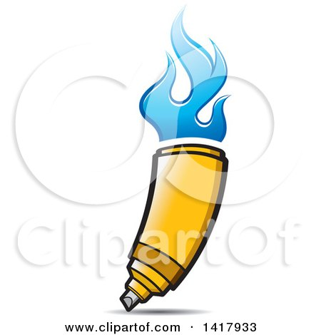 Clipart of a Yellow Marker with Blue Flames - Royalty Free Vector Illustration by Lal Perera