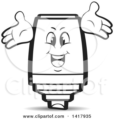 Clipart of a Marker Character - Royalty Free Vector Illustration by Lal Perera