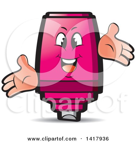 Clipart of a Happy Pink Marker Character - Royalty Free Vector Illustration by Lal Perera