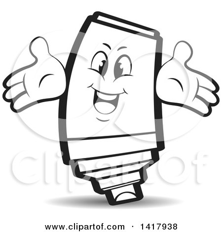Clipart of a Happy Marker Character - Royalty Free Vector Illustration by Lal Perera
