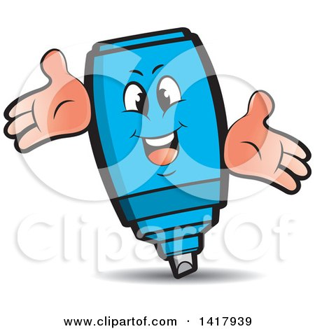 Clipart of a Happy Blue Marker Character - Royalty Free Vector Illustration by Lal Perera