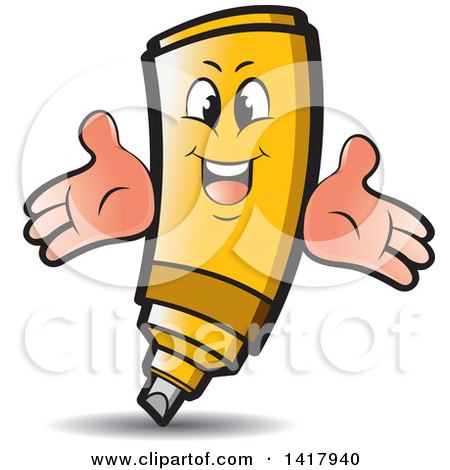 Clipart of a Happy Yellow Marker Character - Royalty Free Vector Illustration by Lal Perera