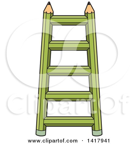 Clipart of a Green Pencil Ladder - Royalty Free Vector Illustration by Lal Perera