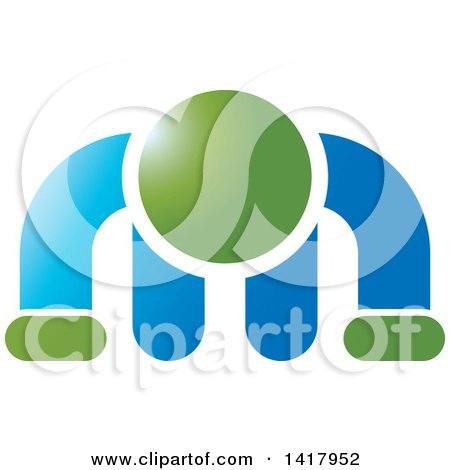Clipart of a Green and Blue Man Doing a Push up - Royalty Free Vector Illustration by Lal Perera