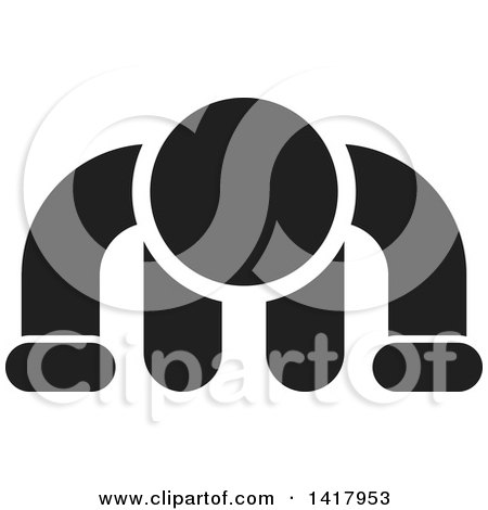 Clipart of a Black and White Man Doing a Push up - Royalty Free Vector Illustration by Lal Perera
