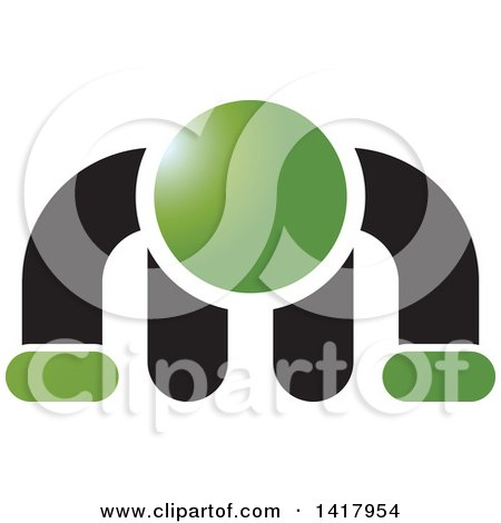 Clipart of a Green and Black Man Doing a Push up - Royalty Free Vector Illustration by Lal Perera