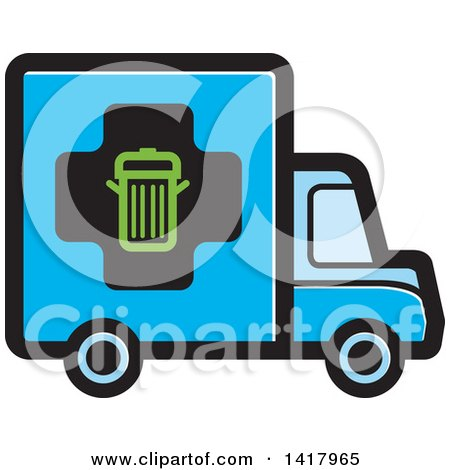 Clipart of a Blue Trash Truck - Royalty Free Vector Illustration by Lal Perera