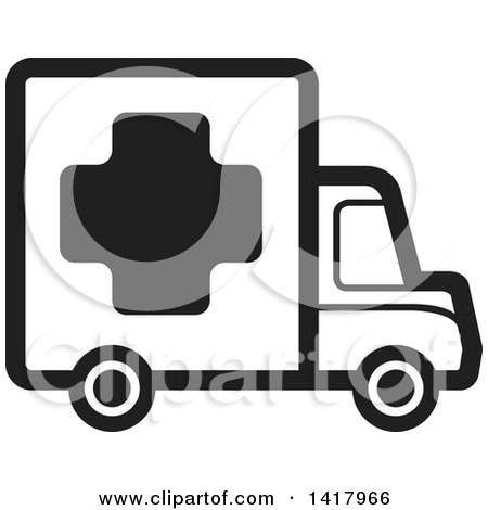 Clipart of a Black and White Medical Truck - Royalty Free Vector Illustration by Lal Perera