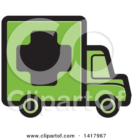 Clipart of a Green Medical Truck - Royalty Free Vector Illustration by Lal Perera