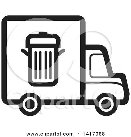 Clipart of a Black and White Trash Truck - Royalty Free Vector Illustration by Lal Perera
