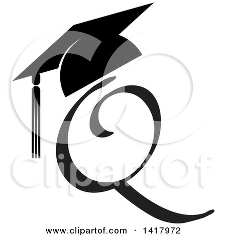 Clipart of a Black Letter Q with a Graduation Cap - Royalty Free Vector Illustration by Lal Perera