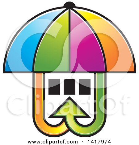 Clipart of a Colorful Umbrella Covering Windows with Arrows - Royalty Free Vector Illustration by Lal Perera