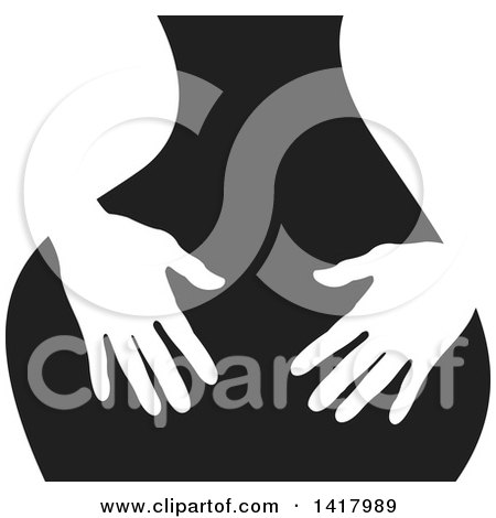 Clipart of White Silhouetted Masseuse Hands over a Black Back - Royalty Free Vector Illustration by Lal Perera
