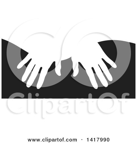 Clipart of White Silhouetted Masseuse Hands over Black - Royalty Free Vector Illustration by Lal Perera
