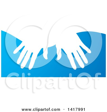 Clipart of White Silhouetted Masseuse Hands over Blue - Royalty Free Vector Illustration by Lal Perera
