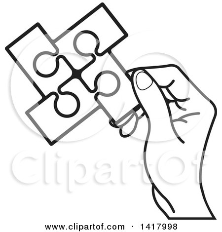Clipart of a Lineart Hand Holding a Section of Connected Jigsaw Puzzle Pieces - Royalty Free Vector Illustration by Lal Perera