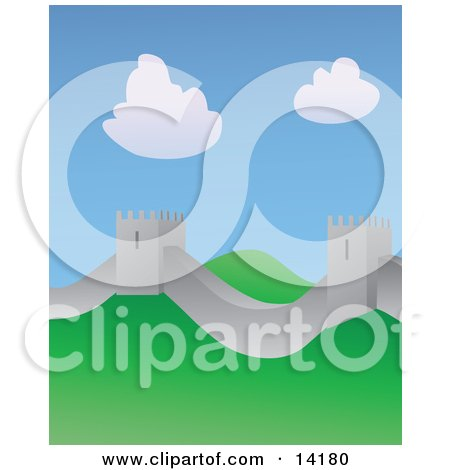 The Great Wall of China on a Sunny Day Clipart Illustration by ...