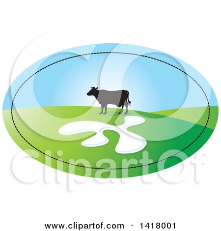 Clipart of a Silhouetted Cow in a Hilly Pasture in an Oval - Royalty Free Vector Illustration by Lal Perera