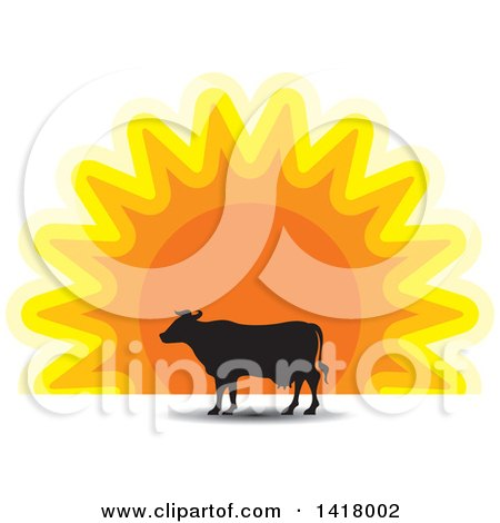 Clipart of a Silhouetted Cow Against a Sunset - Royalty Free Vector Illustration by Lal Perera