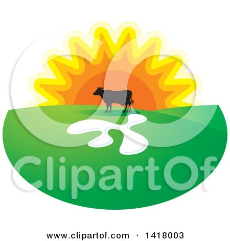 Clipart of a Silhouetted Cow in a Pasture Against a Sunset - Royalty Free Vector Illustration by Lal Perera
