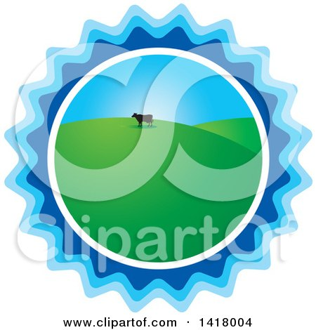Clipart of a Silhouetted Cow in a Hilly Pasture in a Blue Burst - Royalty Free Vector Illustration by Lal Perera