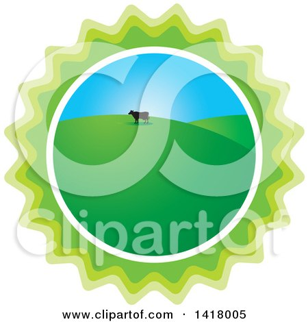 Clipart of a Silhouetted Cow in a Hilly Pasture in a Green Burst - Royalty Free Vector Illustration by Lal Perera