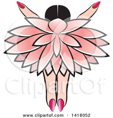 Clipart of a Pink Abstract Flower and Hand - Royalty Free Vector Illustration by Lal Perera