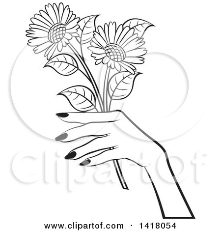 Clipart of a Black and White Womans Hand Holding Flowers - Royalty Free Vector Illustration by Lal Perera