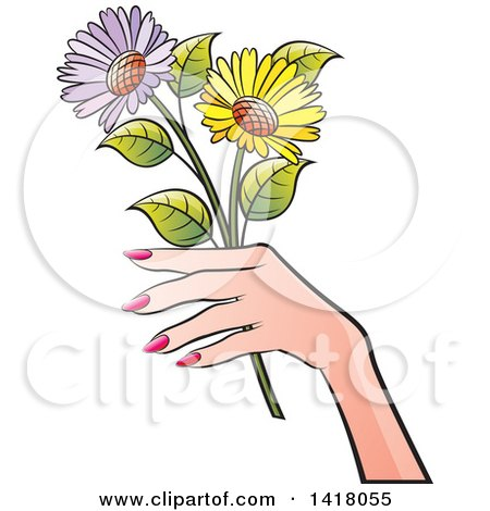 Clipart of a Womans Hand Holding Flowers - Royalty Free Vector Illustration by Lal Perera