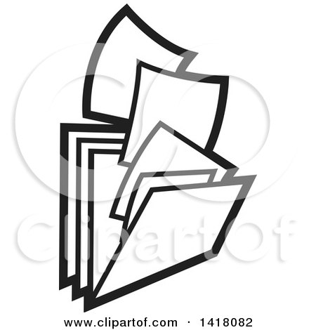 Clipart of Paperwork and Filing Folders - Royalty Free Vector Illustration by Lal Perera