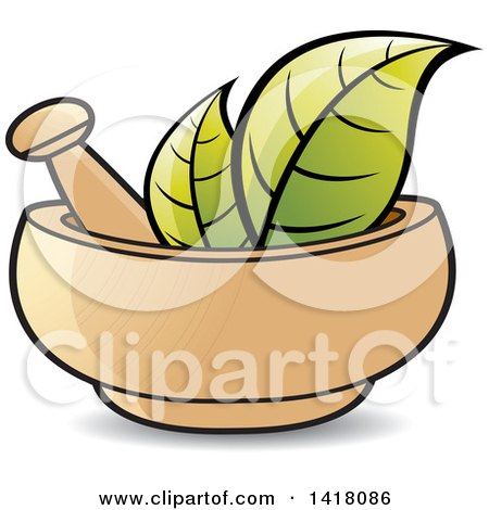 Clipart Of A Mortar And Pestle With Leaves Royalty Free Vector Illustration