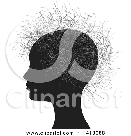 Clipart of a Profiled Silhouetted Head with Hair - Royalty Free Vector Illustration by Lal Perera