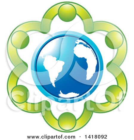Clipart of a Circle of Green People Holding Hands Around a Blue Globe - Royalty Free Vector Illustration by Lal Perera