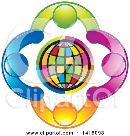 Clipart of a Circle of People Holding Hands Around a Globe - Royalty Free Vector Illustration by Lal Perera
