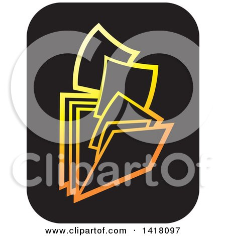 Clipart of Gold and Black Paperwork and Filing Folders Icon - Royalty Free Vector Illustration by Lal Perera