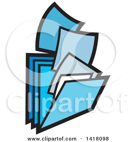 Clipart of Blue Paperwork and Filing Folders - Royalty Free Vector Illustration by Lal Perera