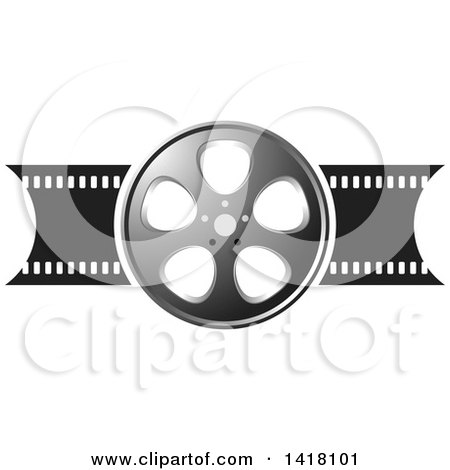 Clipart of a Silver Black and White Film Reel Design - Royalty Free Vector Illustration by Lal Perera