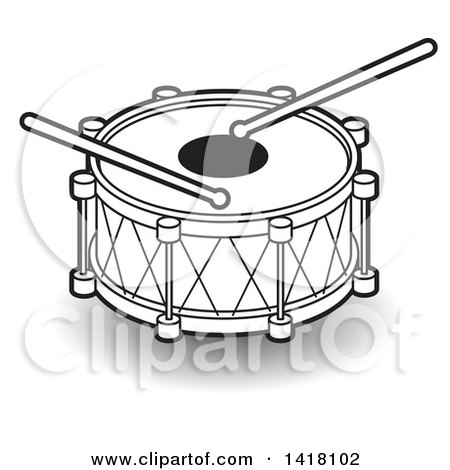 Clipart of a Lineart Drum - Royalty Free Vector Illustration by Lal Perera