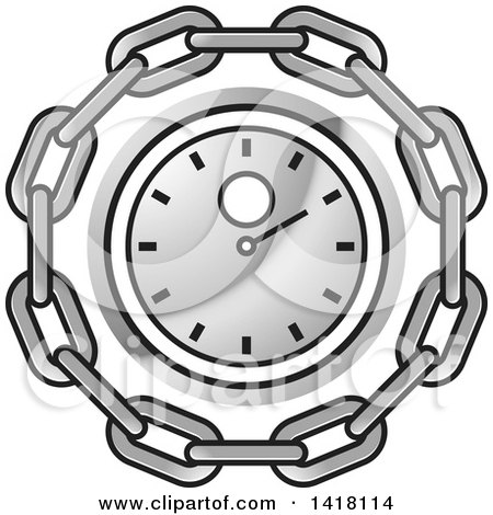 Clipart of a Silver Wall Clock in a Chain Circle - Royalty Free Vector Illustration by Lal Perera