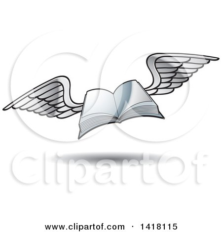 Clipart of a Flying Book - Royalty Free Vector Illustration by Lal Perera