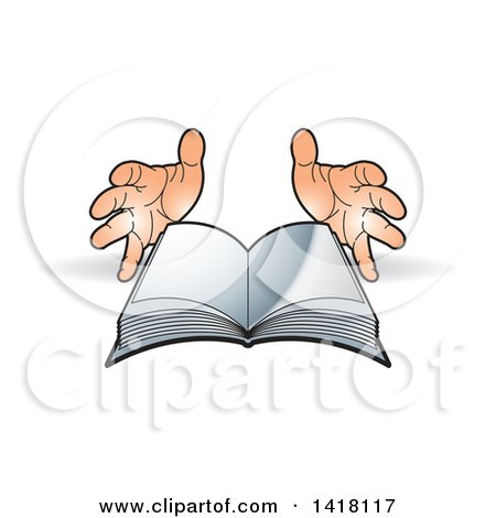 Clipart of a Pair of Hands and Open Book - Royalty Free Vector Illustration by Lal Perera