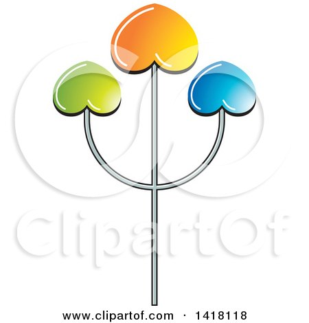Clipart of a Trident with Colorful Hearts - Royalty Free Vector Illustration by Lal Perera